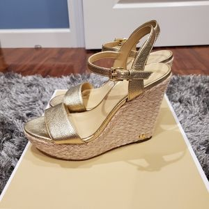 Michael Kors Pale Gold Wedges size 6 with box